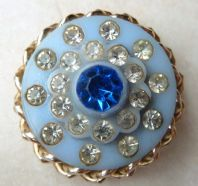 Vintage Blue Lucite And Rhinestone Brooch.